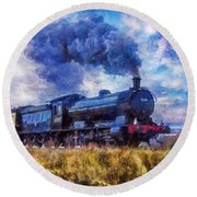 Round Beach Towel featuring the digital art Steam Train by Ian Mitchell