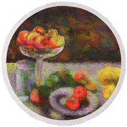 Round Beach Towel featuring the photograph Still Life by Vladimir Kholostykh