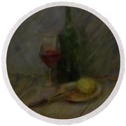 Still Life With A Bottle Of Wine Round Beach Towel