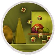 Still Life With Cubes Round Beach Towel