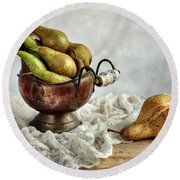 Still-life With Pears Round Beach Towel by Nailia Schwarz