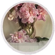 Still Life With Pink Peonies Round Beach Towel