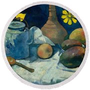 Still Life With Teapot And Fruit Round Beach Towel