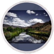 Round Beach Towel featuring the photograph Stillness by Lynn Hopwood