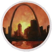 St.louis Downtown - Sunset Round Beach Towel