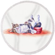 Stolen Lunch Round Beach Towel by Debra Hall