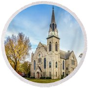 Stone Chapel Fall Round Beach Towel