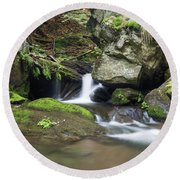 Round Beach Towel featuring the photograph Stone Guardian Of The Waterfalls - Bizarre Boulder On The Bank by Michal Boubin