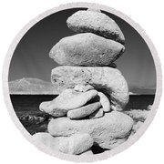 Stone Tower On Halki Island Round Beach Towel