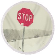 Round Beach Towel featuring the photograph Stop by Edward Fielding