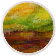 Storm At Sunrise Round Beach Towel