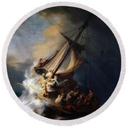Storm On The Sea Of Galilee Round Beach Towel