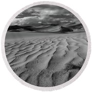 Storm Over Sand Dunes Round Beach Towel