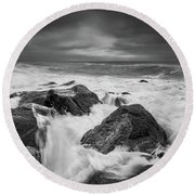 Round Beach Towel featuring the photograph Stormy Morning by Will Gudgeon