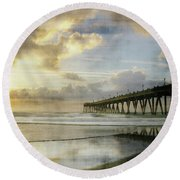 Round Beach Towel featuring the photograph Stormy Sunrise At Johnnie Mercer's Pier by Phil Mancuso