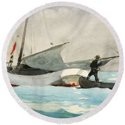 Stowing Sail Round Beach Towel