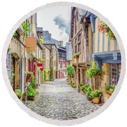 Streets Of Dinan Round Beach Towel by JR Photography
