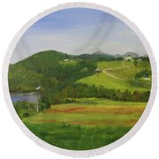 Strip Cropping At Young Farm Round Beach Towel