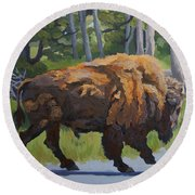 Round Beach Towel featuring the painting Strutting Along, Yellowstone by Erin Fickert-Rowland