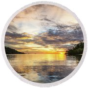 Stunning Sunset In The Togian Islands In Sulawesi Round Beach Towel