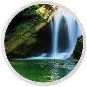 Sum Waterfall In Vintgar Gorge, Near Bled, Slovenia. Round Beach Towel