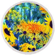 Round Beach Towel featuring the photograph Summer Bouquet by Byron Varvarigos