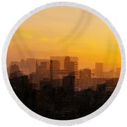 Summer In The City Round Beach Towel by Cathy Donohoue