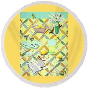 Summer Lavender Lemonade Round Beach Towel