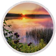 Round Beach Towel featuring the photograph Summer Sunrise Square by Bill Wakeley