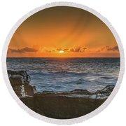 Sun Rising Over The Sea Round Beach Towel