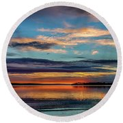Sundown Round Beach Towel by Doug Long