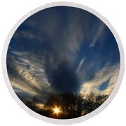 Sundown Skies Round Beach Towel