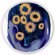 Sunflower 1 Round Beach Towel by Rabi Khan