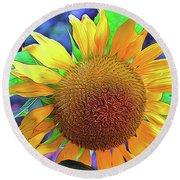 Round Beach Towel featuring the photograph Sunflower by Allen Beatty