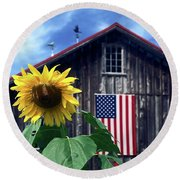 Sunflower By Barn Round Beach Towel