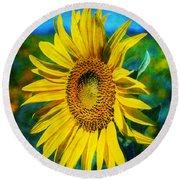 Round Beach Towel featuring the digital art Sunflower by Ian Mitchell