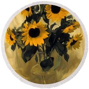 Sunflowers And Yellow Drape Round Beach Towel