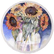 Round Beach Towel featuring the painting Sunflowers by Nadine Dennis