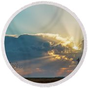 Sunrise And Windmill -01 Round Beach Towel