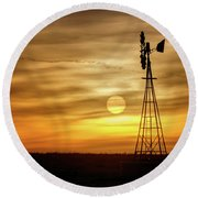 Sunset And Windmill Round Beach Towel