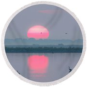 Sunrise At Cheyenne Bottoms -02 Round Beach Towel