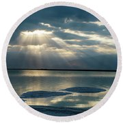 Sunrise At The Dead Sea Round Beach Towel