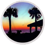 Sunrise On Ormond Beach Round Beach Towel