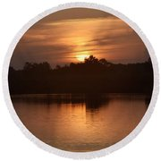 Sunrise On The Bayou Round Beach Towel