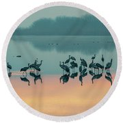 Sunrise Over The Hula Valley Round Beach Towel