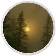 Sunrise Through The Fog 2 Round Beach Towel
