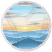Round Beach Towel featuring the painting Sunrise by Veronica Minozzi