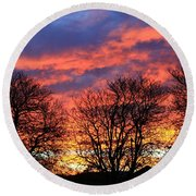Round Beach Towel featuring the photograph Sunset And Filigree by Nareeta Martin