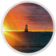Sunset And Lighthouse Round Beach Towel