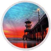 Sunset At Huntington Beach Pier Round Beach Towel